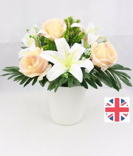 7 Heads rose and Lily Artificial Silk Flower Bunch wedding home decor grave UK