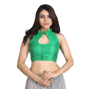6a5fc77165668 Women s Green Raw Silk Stitched Wedding Bridal Saree Blouse Crop Top ...