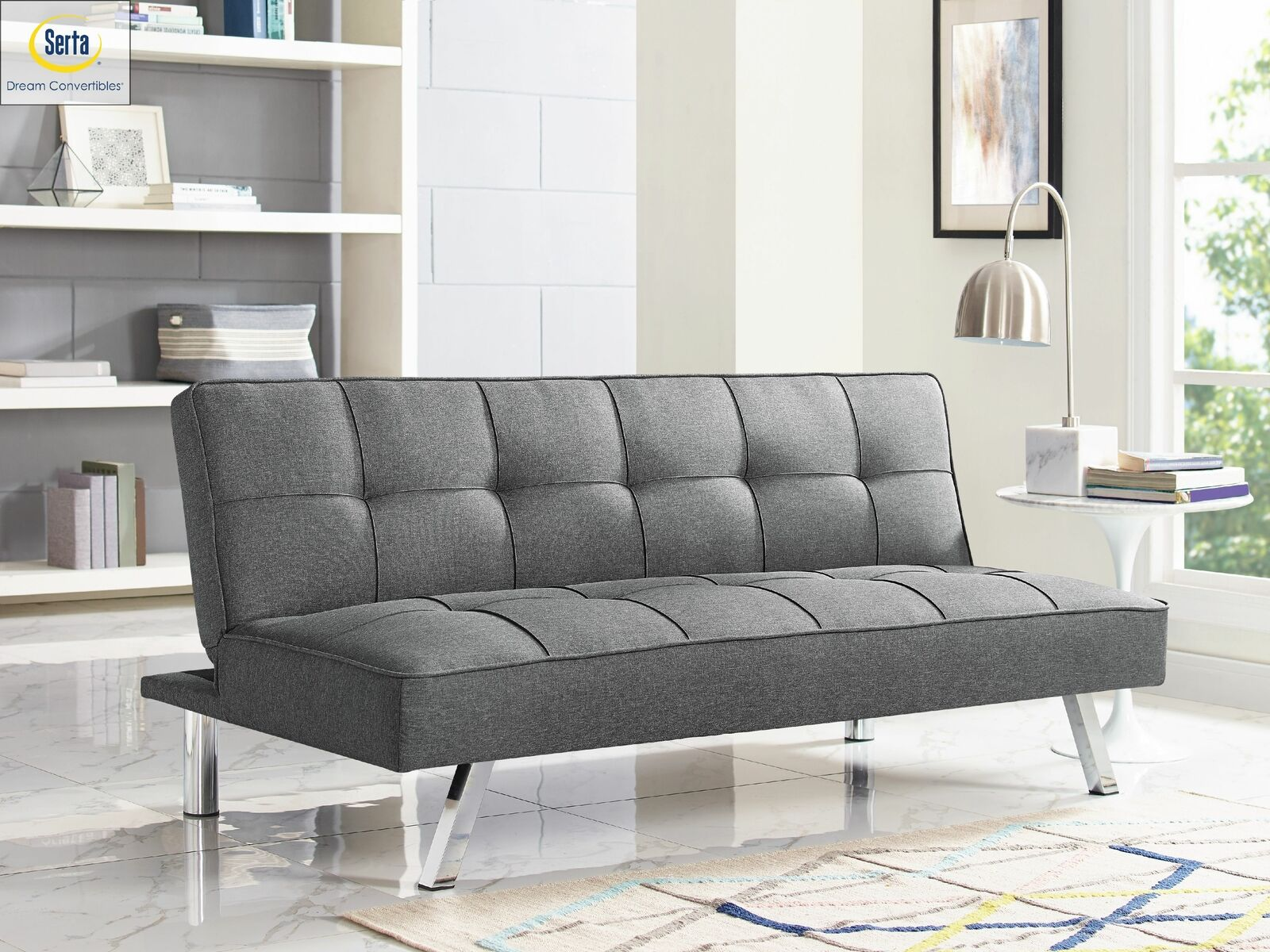 Modern Sofa Bed Serta Futon Couch Convertible Sleeper Microfiber Seat Charcoal 0812189011261 For Sale Online