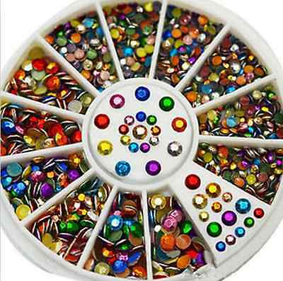 flat back Facet Rivets Nail Art Decoration Colorful Metal Studs 2,3mm wheel one