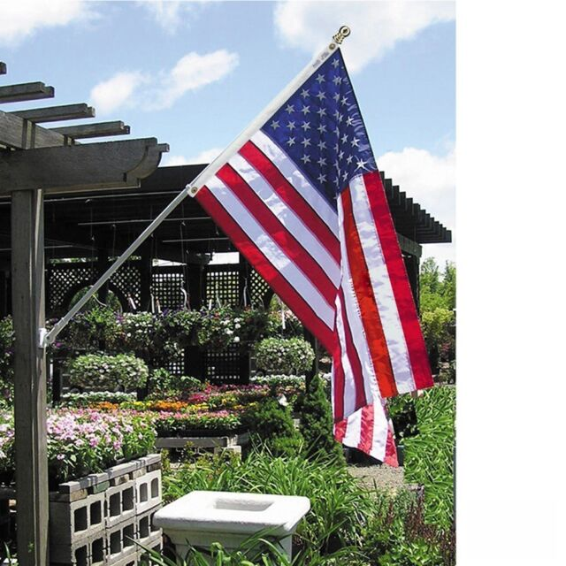 American Flag and Flagpole Set  6 ft 2 Section White Spinning Pole US 3x5