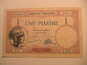 1921-1-Piastre-Original-Choice-CU-Gem-French-Indochina-Paper-Money-Currency-P48a