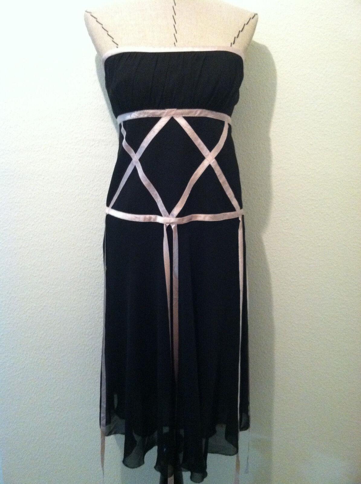 Nicole Miller damen dress cocktail strapless Rosa ribbon knee length Größe 8 silk