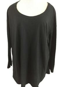 J Jill knit top size 3X solid black 3/4 sleeve easy curved hem tunic cotton