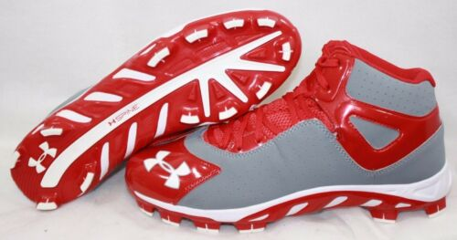 NEW Mens UNDER ARMOUR UA Spine Heater Mid TPU 1250050 026 Red Cleats Shoes