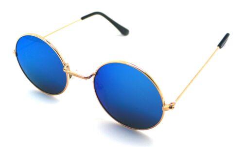 PT Gafas de Sol Hippie Retro Redondas Hombre Mujer Sunglasses UV 400 Espejo Azul