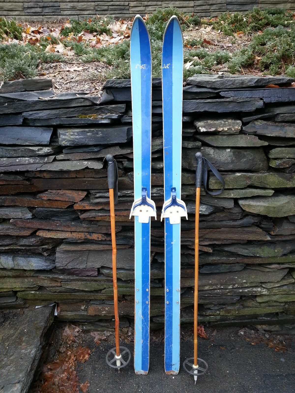 Vintage Wooden Skis 58   Long Has 2 Tone bluee Finish + Bamboo Poles  large discount