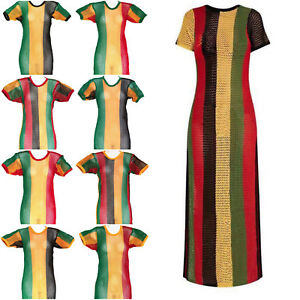 828416be6a Image is loading Rasta-string-vest-dress-splits-on-sides-Ladies-