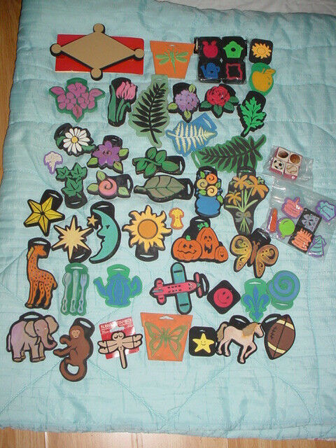 57 Piece-Flowers rose zoo Animals-Birthday-Foam Craft Simply Chunky Stamp Lot