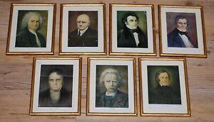 Compositeur Serie 7 Cadres Dores Beethoven Bach Grieg Schumann Schubert Lortzin Douceur AgréAble