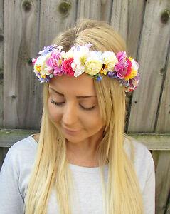 White Ivory Rose Blossom Lavender Flower Garland Headband Hair Crown