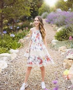 a4d423d6e0e5 NWT Anthropologie Kalila Floral Dress by Ranna Gill Halter Swing S-M-MP-L-LP-XL  Women's Clothing