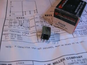 Miller-8852-Coil-Tunable-Core-Transformer-10-7MHz-IF-15K-300-Ohms-NOS-Qty-1