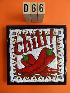 """Ceramic Art Tile 6""""x6"""" Hand painted CHILI Trivet wall gift kitchen mexican D66"""
