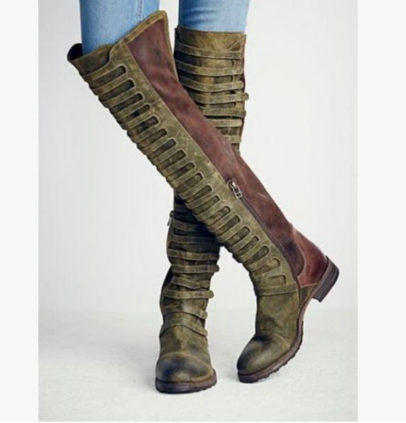 US4-10 Donna Over Knee Stivali Gladiator Genuine Pelle Shoes Luxury Belt Roman