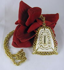 Vintage Ornate White Enamel on  Gold tone  Necklace  FERAL CAT RESCUE