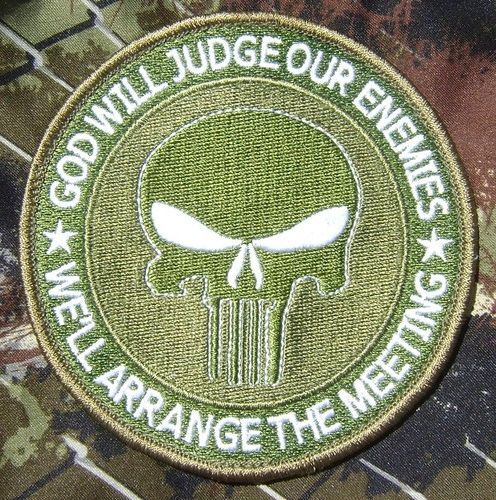GOD WILL JUDGE OUR ENEMIES PUNISHER USA MULTICAM VELCRO® BRAND FASTENER PATCH 4""