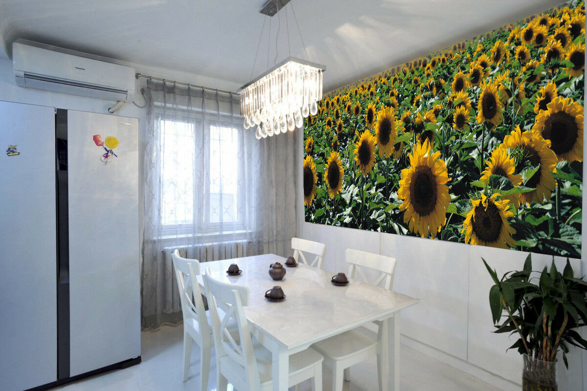 3D Sunflower Field 82 Wallpaper Mural Paper Wall Print Wallpaper Murals UK Lemon