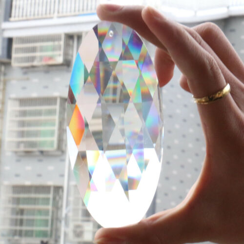 120MM Suncatcher Oval Cut Glass Crystal FengShui Chandelier Prisms Hanging Drop