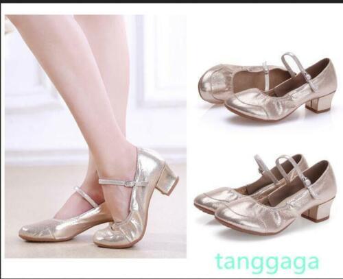 Womens Latin Waltz Dancing Leather Ballroom Soft Heel Tango Salsa Shoes Pumps