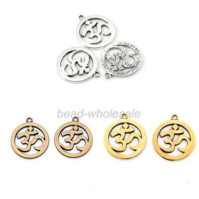 "30pcs Silver/Gold/Bronze ""omh"" Round Circle Charms Pendants for Jewelry Making"