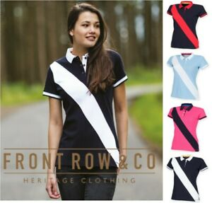 Front-Row-Mesdames-diagonale-Rayures-Coton-piqu-Polo-Chemise-Slim-Fit