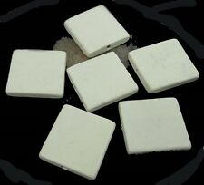 6 Wood Flat Square Beads 30mm - Antique / off White