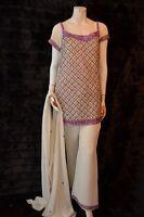 Pakistani Indian Formal Party Wedding Shalwar Pants Kameez Hand Embellished M-l