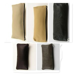 Genuine-Leather-Pencil-Case-Make-up-Bag-Fiber-Glasses-Zipped-Accessories-Pouch