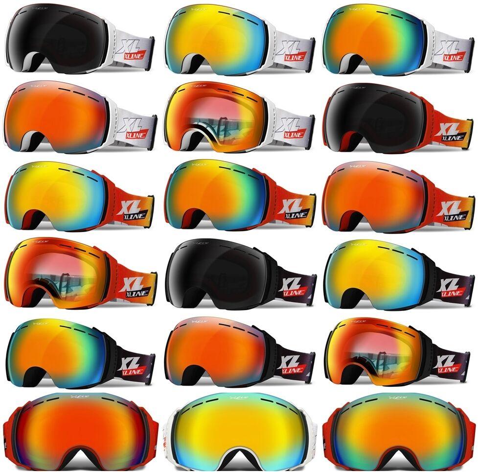 XLINE Pro V2108 Goggles + Hardcase SKI SNOWBOARD Snow OVERLENS Wide MirrGoldt Big