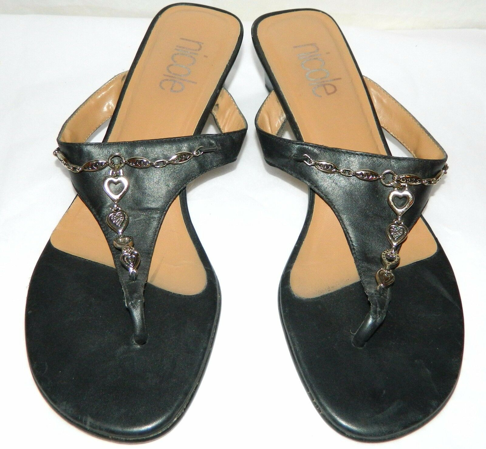 Nicole Black LEATHER Heels heart charms Flip Flop Heels LEATHER womens size 8.5 Brazil 625042