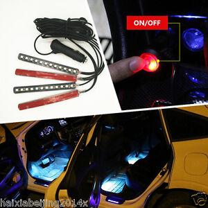 Car Interior Ice Blue Led Atmosphere Light Strips Neon Lamp Cigarette Lighter Ebay