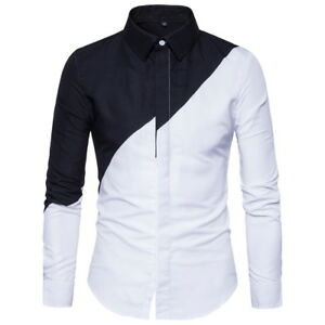 Fashion-Men-039-s-Luxury-Chemises-Slim-Fit-a-manches-longues-Casual-Dress-Shirts-Tops