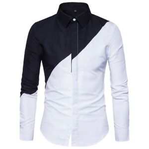 Fashion-Men-039-s-Luxury-Shirts-Slim-Fit-Long-Sleeve-Casual-Dress-Shirts-Tops