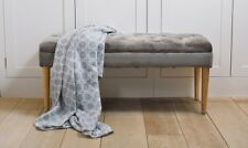 Button Tufted Upholstered Fabric Bench Hallway Bedroom Window Seat Stool Grey