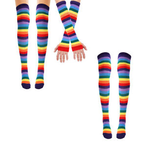 Responsible Womens Unisex Winter Knitted Fingerless Gloves Socks Set Rainbow Stripes Printed Colorful Thigh High Stockings Elbow Warmer Mitt Back To Search Resultsapparel Accessories