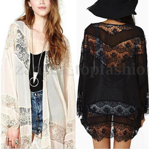 Zanzea S-5XL Women Chiffon Kimono Mesh Lace Crochet Floral Long Cardigan Coat