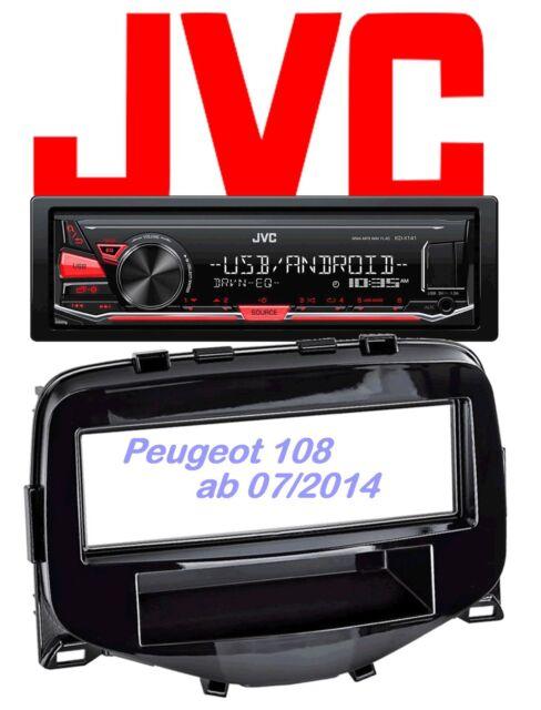 ~ JVC autoradio Set PEUGEOT 108 mp3 USB-controllo Android - 4 x 50 Watt AUX in