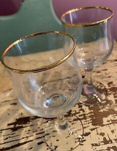 """Vintage Set Of 2 Gold Rimmed Wine Glasses 6 1/2"""" Tall"""