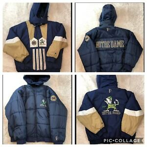 Vintage-Pro-Player-Notre-Dame-Fighting-Irish-REVERSIBLE-Puffer-Parka-Coat-XL