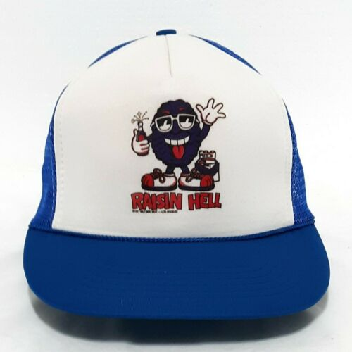 """Raisin Hell"" California Raisins White & Blue Mesh"