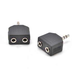 3.5mm AUX Male to 2x 6.5mm Female Y Splitter Adapter Audio Socket Plug Connector