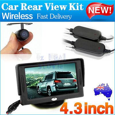 "Wireless Rear View Kit 4.3"" TFT LCD Monitor+Car Reversing Back Parking Camera AU"