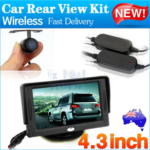 "Wireless Rear View Kit 4.3"" TFT LCD Monitor+Car Reversing Back Parking Camera AU"