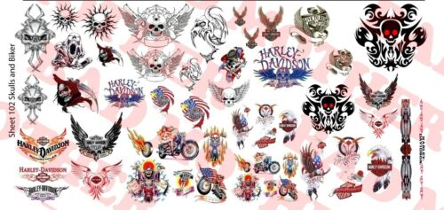 Crânes et Motard Variety Pack-Waterslide Decals 1//6 Scale Custom Tattoos