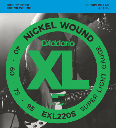 D/'Addario EXL220S XL NICKEL BASS STRINGS LIGHT GAUGE 4/'s SHORT SCALE 40-95