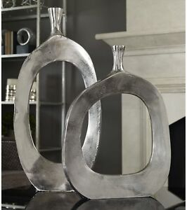 Set Of 2 Large Metal Floor Vases Round Modern Textured Abstract Hand Crafted 600154362667 Ebay