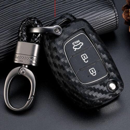 For Hyundai Sonata Santa Fe Tucson Carbon Fiber Silicone Flip Key Fob Cover Case