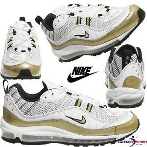 Dettagli su Nike Air Max 98 UK AJ6302 100 BIANCO ORO SCARPE UOMO DONNA COLLEZIONE