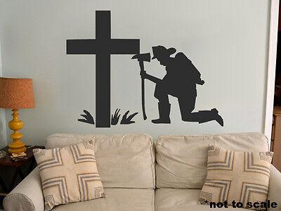 Firefighter Cross Interior Wall Sticker Decal vinyl decor fallen fire man jesus